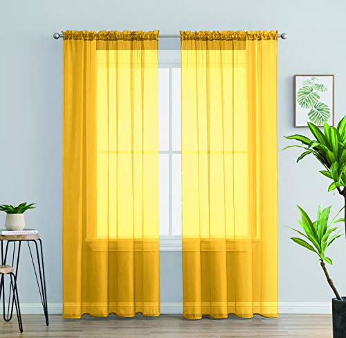 Jody Clarke 2PC Solid Sheer Panel Curtain Drape Long Fully Stitched for Wedding Quinceniera Party décor 54 Width ( 2PC 54 X 84 Mustard Yellow )