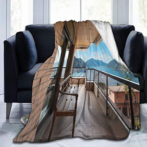 Manta suave y esponjosa, vista panorámica al lago Lugano desde la terraza de apartamentos montañas y mar, manta de microfibra súper suave para bebé, manta para dormitorio, cama de TV de 152 x 127 cm