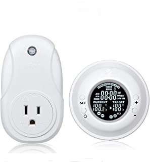 Programmable Wireless Thermostat Plug, Hycency Digital Temperature Controller Automatic Heating & Cooling Outlet Thermostat with Remote Control LCD Display, 15A/1800W (1 Pack)