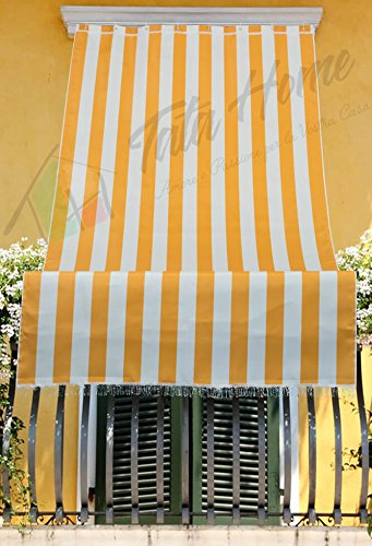 Tenda da Sole con Kit Ganci e Anelli in Tessuto a Righe Resistente da Esterno o Balcone Misura cm 290x300 Dis.1 Giallo