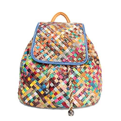 LXLX-bag Multicolor Patchwork Leder Rucksack Handtasche Damen Rucksack gewebt Leder Rucksack,Color