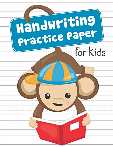 Handwriting Practice Paper for Kids: Blank Dotted Lined Sheets Writing Notebook   Preschool Pre-K Kindergarten K-3 Students   Cute Monkey Hanging from Tail Reading Book Cover