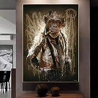 """モダンアブストラクトグラフィティアートモンキースモーキングシガーポスターとプリントキャンバス絵画壁アート写真リビングルーム家の装飾40x60cm / 15.7""""x23.6""""フレームレス"""