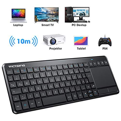 VicTsing Wireless Tastatur, Touch Tastatur, USB Tastatur mit Bluetooth, QWERTZ, einfachere Lifestyle, kabellos Keyboard für PC/Smart TV//Laptop/PS4/Projector/Tablet, Deutsche Layout, Schwarz