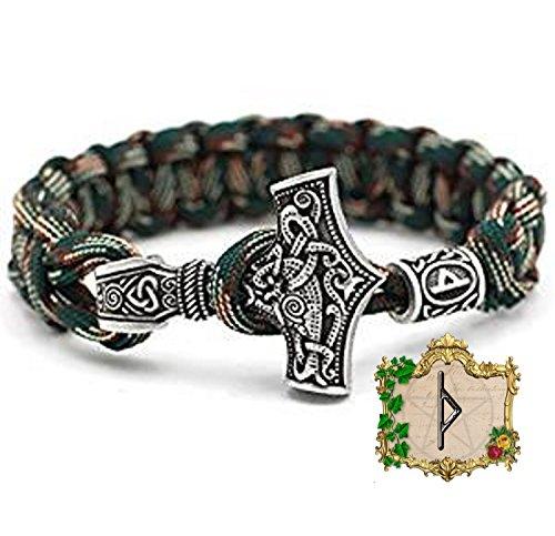 Pulsera de cuentas de Thurisaz, vikingo, martillo de Thor, 100 % hecha a mano, color verde, única, cuerda de paracaídas de plata antigua, nórdico, celta n.º 47