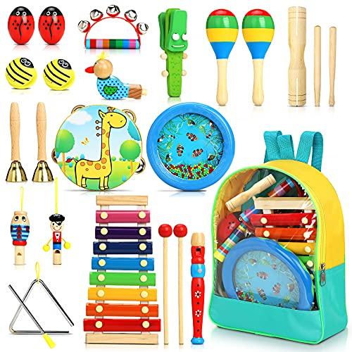 Jojoin 24pcs Instrument de Musique pour Enfant, Bois Percussion pour Bébé avec Ocean Wave Bead Drum, Xylophone, Triangle et Autre Instrument Jouets dans Un Sac de Transport Plus de 3+ Ans