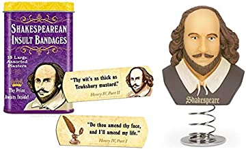 Archie McPhee Shakespeare Gag Gift Duo - Shakespearean Insult Bandages with a Dashboard Shakespeare - Perfect for The Shak...