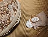 Cesto Bauttizo con 25 saquitos de yute y jaboncitos personalizados