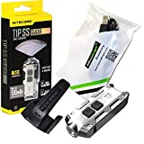 Nitecore TIP 2017 360 lumen USB rechargeable Stainless Steel keychain light with EdisonBright brand USB charging cable (Glacier)
