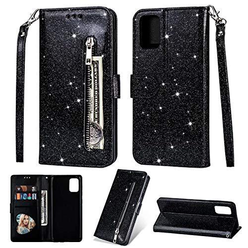 Nadoli Glitzer Handyhülle für Huawei P40 Lite,Reißverschluss Kartentaschen Entwurf Hell Glänzen Magnetverschluss Flip Bling Schutzhülle Etui im Brieftasche-Stil