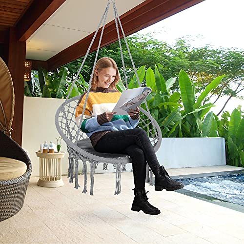 Outsunny Silla Colgante Redondo de Ø60 cm Silla Hamaca Columpio con Cojín y Cuerda de Algodón para Interior y Exterior 80x80x42 cm Gris
