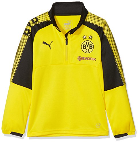 PUMA Kinder BVB 1/4 Training Top with Sponsor Logo T-Shirt, Cyber Yellow Black, 152