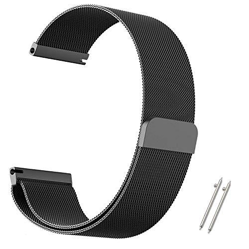AGUPERFIT 時計バンド マグネット式のあるステンレス ミラネーゼループ 腕時計バンド 取付幅20mmのスマートウォッチ交換用バンド (22mm, ブラック)