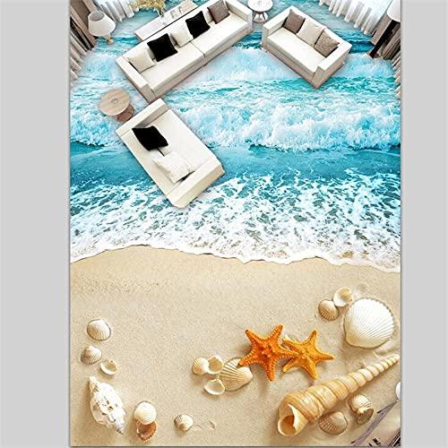 Adhesivo De Suelo Pvc 3D Decorativo Pegatinas De Suelo 3D Personalizadas, Conchas De Olas De Playa, Baldosas De Suelo De Dormitorio De Sala De Estar 3D Autoadhesivas 3D-200 * 140Cm Para La Decoració