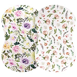 Pobibaby – 2 Pack Premium Bassinet Sheets for Standard Bassinets – Ultra-Soft Cotton Blend, Stylish Floral Pattern, Safe and Snug for Baby (Allure)