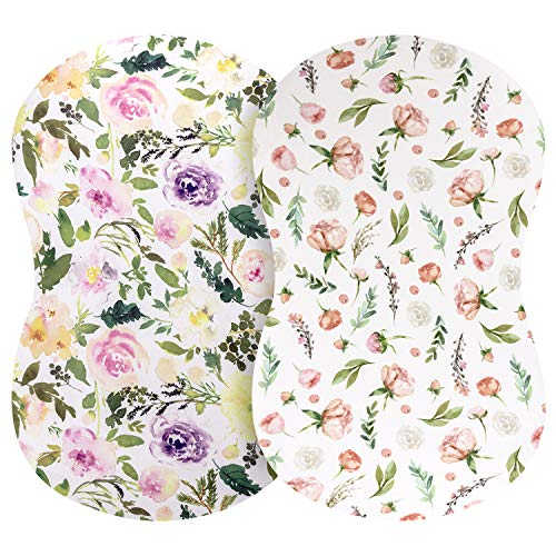 Pobibaby - 2 Pack Premium Bassinet Sheets for Standard Bassinets - Ultra-Soft Cotton Blend, Stylish Floral Pattern, Safe and Snug for Baby (Allure)