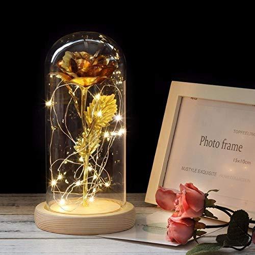 certainPL Flor de Rosa con luz LED,Regalo de 2 Rosas Decoración del hogar Cubierta de Vidrio Rosa Flor eterna Inmortalidad romántica Conservada Flor Fresca Decoración Floral