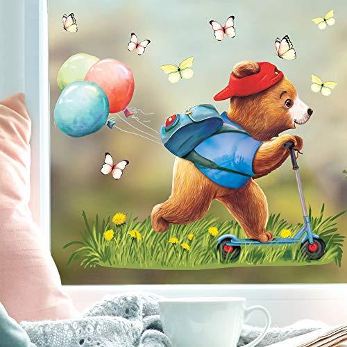 Wandtattoo Loft Fensterbild Frühling Ostern wiederverwendbar Fensteraufkleber Kinderzimmer / 3. Bär Junge Roller (13036) / 1. DIN A4 Bogen