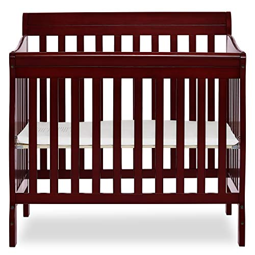 Dream On Me Aden 4-in-1 Convertible Mini Crib in Cherry, Greenguard Gold Certified