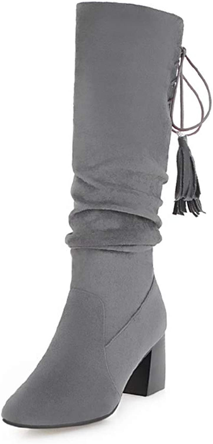 SANOMY Thick High Heels Women Round Toe Tssel Mid Calf Ladys Cross Tied Warm Flock Boots