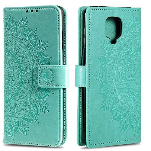 HTDELEC Hülle für Xiaomi Redmi Note 9 Pro,Flip Hülle Etui mit Kartensteckplatz und Magnetverschluss Leder Wallet Klapphülle Book Case Bumper Tasche für Xiaomi Redmi Note 9s/Note 9 Pro(T-Grün)
