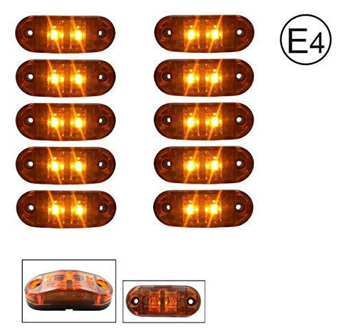 A1 10 x LED 24V GELB ORANGE BEGRENZUNGSLEUCHTE POSITIONSLEUCHTE SEITENMARKIERUNGSLEUCHTE LKW E-Prüf E9