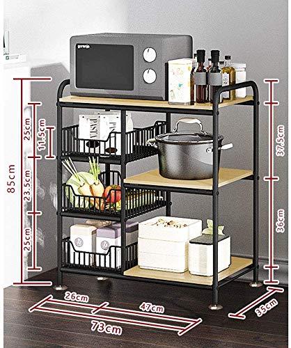 XBR New 3+3 Shelves Storage Rack, Kitchen Standing Shelf, Microwave Oven Stand Baker's Rack, Storage Organization Rack
