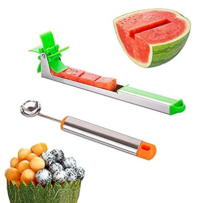 New kitchen gadgets stainless steel one step cutter watermelon cubes slicer and corer from POLAR HAWK