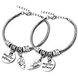 XYIYI 2pcs Best Friend Bracelet No Matter Where Split Broken Heart Double Bangle Bracelet Set Friendship Gift