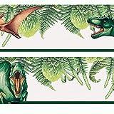 Sunnywall Dinosaurier (real) Bordüre selbstklebend Kindermotive Wandbordüre | Motivauswahl | Kinderzimmer 400 cm x 12 cm