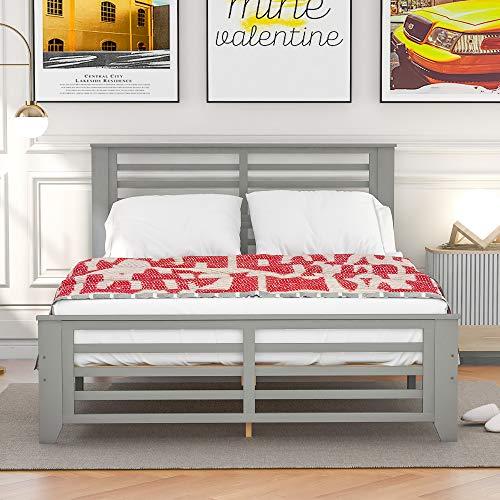Harper & Bright Designs Full Bed Frame with Headboard Wood Platform Full Bed,No Box Spring Needed (Grey, Full)