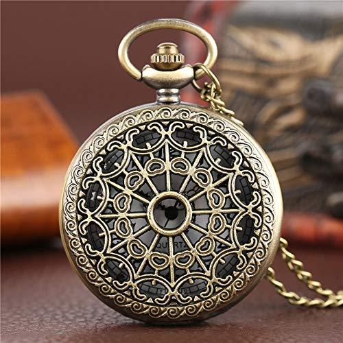 LOOIUEX Reloj de Bolsillo Vintage Bronce Web Araña Reloj Antiguo Collar Cadena Colgante Reloj Enfermería médica