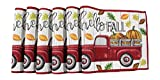 Fall Farmhouse Red Truck and Pumpkins Placemats, Hello Fall Set of Six (6) Colorful Tapestry Weave Fabric, for Holiday's, Thanksgiving, Autumn and Fall (Placemats)