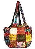 Tribe Azure Women Large Floral Colorful Handmade Shoulder Bag Tote Summer Beach Picnic Blanket Books Laptop School Market Casual Boho