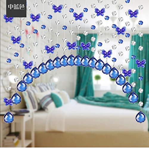 H&Y Glasperlenvorhang Kristall gebogen Eingang Vorhang Wohnzimmer Partition Vorhang Vorhang Gang Schmetterling gebogen Unterglas frei von ländlichen 20pcs (Blue,1M)