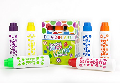 Fruit Scented Washable Dot Markers for Kids and Toddlers Educational Set of 6 Pack by Do A Dot Art, The...
