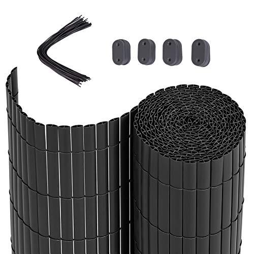 SONGMICS PVC Sichtschutzmatte, 5 x 0,8 m (L x B), Balkonverkleidung, Sichtschutzzaun, Balkonumrandung, Blende mit verstärkten Lamellen, Garten, Balkon, Terrasse, Outdoor, Grau GPF085G