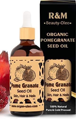 R&M Aceite orgánico de semilla de granada - Aceite de granada, prensado en frío para cara y mucho más - Botella de 100 ml