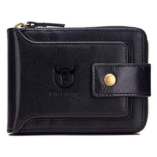 BULLCAPTAIN Genuine Leather Wallet for Men Large Capacity ID Window Card Case with Zip Coin Pocket QB-231 (Black)