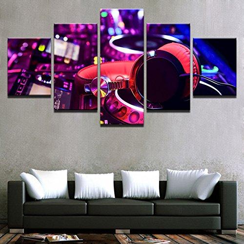 Lienzo pintura al óleo decoración del hogar marco 5 piezas DJ mezclador de instrumentos y auriculares imagen bar cartel club nocturno arte de la pared Sin marco