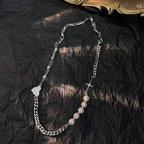 Collares Colgante Joyas Punk Pearl Heart Cross Chian Gargantilla Collar Personalidad De Moda Joyería Dulce Acero De Titanio para Mujeres Regalos-50Cm