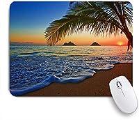 ECOMAOMI 可愛いマウスパッド ラニカイビーチハワイの太平洋の日の出カラフルな空の波状の海の表面のシーン 滑り止めゴムバッキングマウスパッドノートブックコンピュータマウスマット