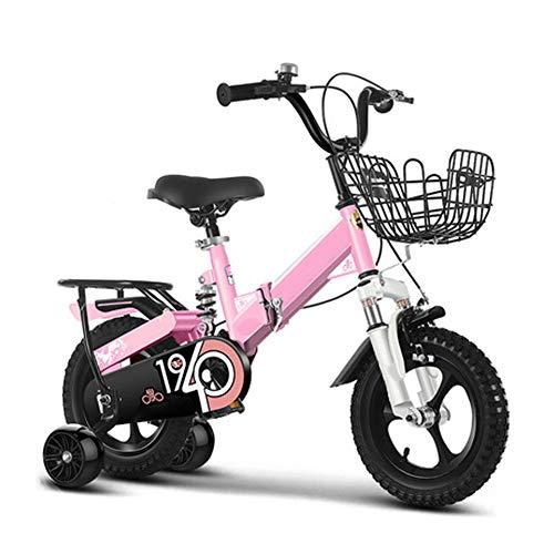 Falten Kinder Innen Mountainbike Junge Übung Fahrrad Draussen Mädchen Treten Dreirad Fahrrad Klein Mini Fahrrad Integriertes Rad Erweiterung Blitz Hilfs Rad, Rosa,18 inch