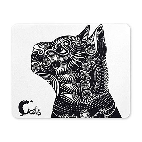 Vintage schwarze Katze in Paisley Mandala und Tierbuchstaben Rechteck rutschfeste Gummi Laptop Mousepad Mauspads / Mausmatten Fall Abdeckung mit Designs für Office Home Frau Mann Mitarbeiter Chef