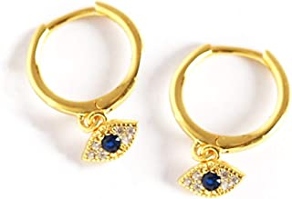 14K Gold Plated Sterling Silver Small Blue Crystal Evil Eyes Hoop Earrings Tiny Dipped Hinged Stud Ear Jewelry