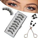 Magnetic Eyelashes 3 Magnets Naturally Reusable False Eyelashes Set, Dramatic Look Fluffy False Lashes Kit for Eyelashes Extensions, Reusable 3D False Eyelashes with Tweezers