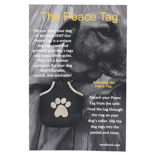 Woofhoof Dog Tag Cover - Black Pawprint