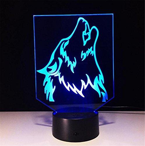 Atmko®Veilleuses 3D Nuit Lumière Visualisation Glow 7 Changement de Couleur USB Bouton Tactile Et Intelligent Télécommande Bureau Éclairage de Table Beau Cadeau Home Office Décorations Jouets (Tête de Loup)