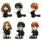 6 PCS Mago Mini Figuras, Harry Potter Cake Topper Decoración Mini Juguetes Baby Shower Fiesta de cumpleaños Pastel Decoración Suministros
