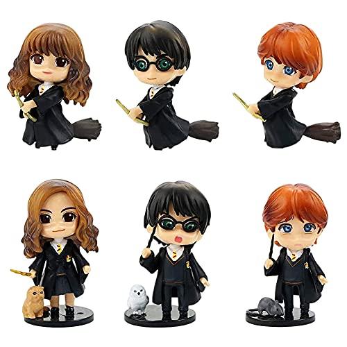 Harry-Potter Cake Topper, 6 pcs Harry Potter Mini Décoration de gâteau Ornament, pour Décoration de Gâteau d'anniversaire, de Fête d'anniversaire Décoration Supplies